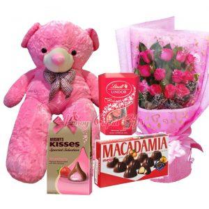 4 FT Pink Life-Size Bear, 1 Dozen Pink Roses Bouquet, Lindt Lindor Milk Chocolate Gift Box-168g Meiji Macadamia Chocolates-144g, Hershey's Kisses Strawberry Filled Milk Chocolate 135g