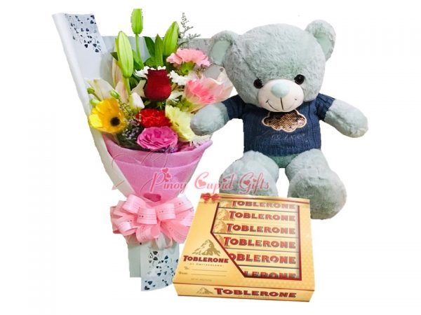 Mixed Flower Bouquet, 22 Inches Teddy Bear, 6x50g Toblerone Gift Pack