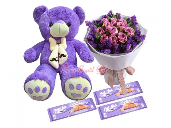 2 FT Purple Teddy Bear, 10 Imported Purple Roses Bouquet, Milka Alpine Milk Chocolate 200g x3