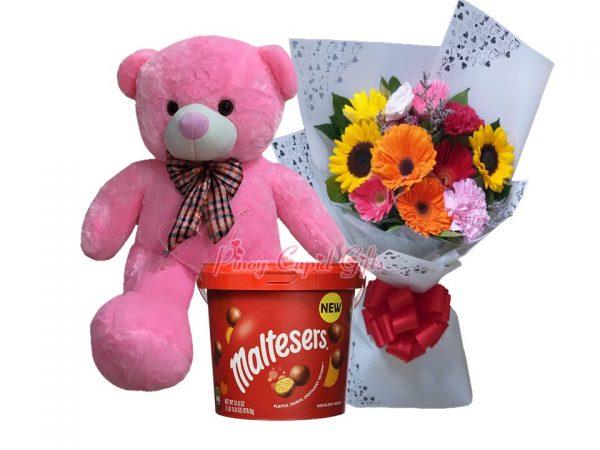 3 FT Pink Teddy Bear, Mixed Flowers Bouquet, Maltesers Bucket 465g