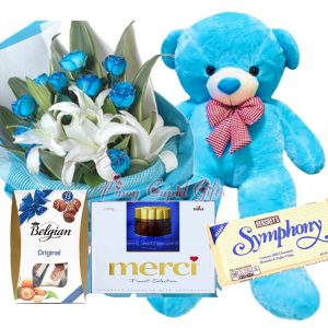 4 FT Blue Life-Size Bear, 1 Dozen Blue Roses + Stargazers, Belgian Chocolate, Merci Chocolate, Hershey's Symphony Bar