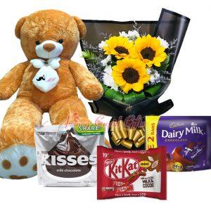 5 FT Brown Life-Size Bear, 3 pcs Sunflower Bouquet, Hershey's Kisses Chocolate Pack, Cadbury Chocolate Pack, KitKat Chocolate Pack