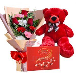 2 FT Red Teddy Bear, Mixed Flower Bouquet, Lindt Lindor Milk Truffles-200g