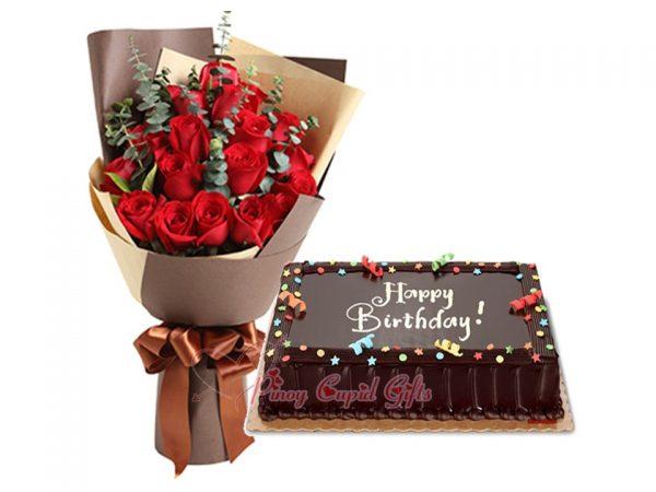 2 Dozen Red Roses & 8x12 Chocolate Dedication Cake