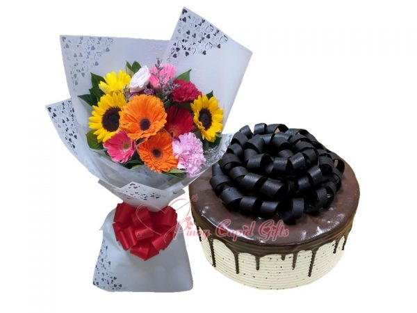 Mixed Flowers Bouquet & Purple Oven Dark Mocha Sans Rival Cake
