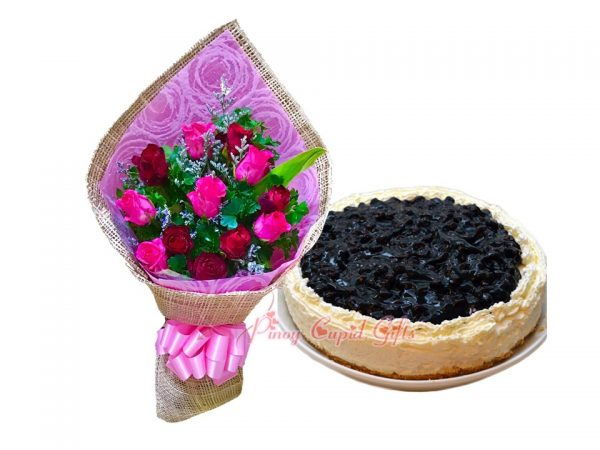 1 Dozen Mixed Roses Bouquet & Blueberry Cheesecake by Purple Oven