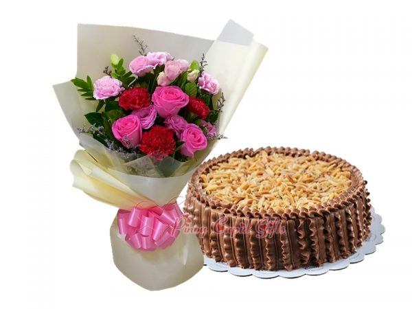 Mixed Flower Bouquet & Almond Choco Sans Rival by Conti's