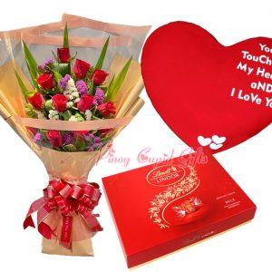 2 Dozen Red Roses Bouquet, KitKat Box (35g x 24), 22 x 18 inches Big Heart Pillow