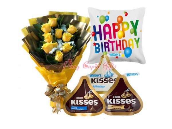 10 Imported Yellow Roses, 3 x 146g Hershey's Iconic Kisses, Happy Birthday Pillow