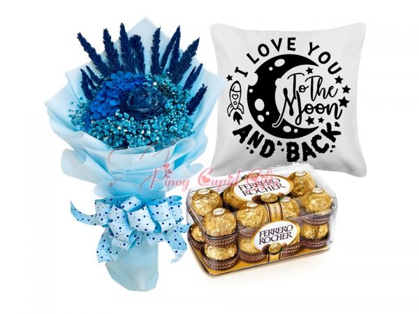 """Everlasting Dried/Blue Flower Bouquet, """"I Love to the Moon..."""" Pillow, 16 Ferrero Rocher Chocolate."""