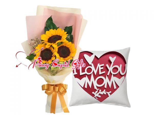 "3 pcs Sunflower Bouquet, ""I Love You Mom"" Throw Pillow"