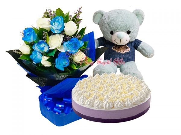 Mixed white/blue roses & Red Ribbon Ube Mousse Cake