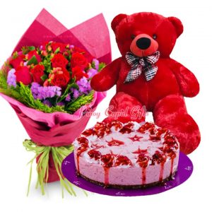 1 Dozen Red Roses Bouquet, 2 FT Purple Teddy Bear & Strawberry Cheesecake by Lia Cakes