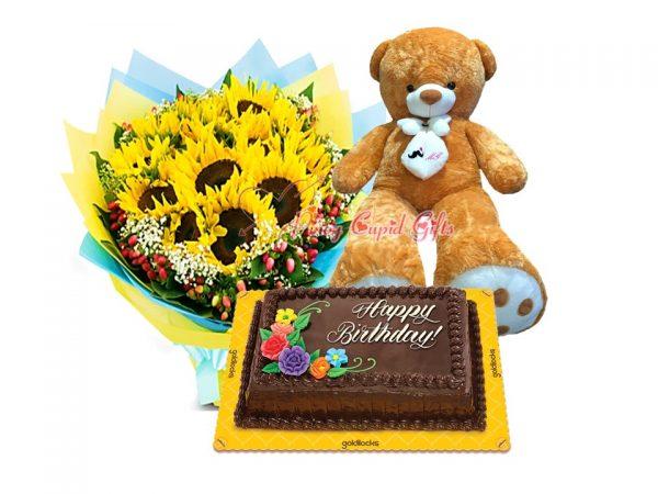 10 pcs Sunflower Bouquet, Goldilocks 8x12 Chocolate Dedication Cake, 5T Brown Life-Size Bear