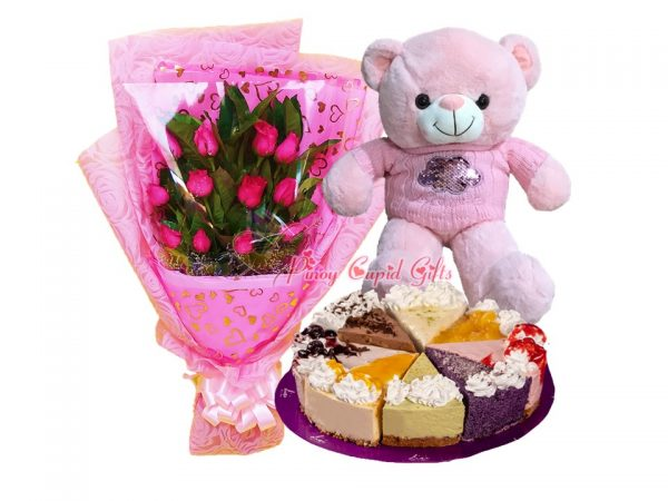 1 Dozen Pink Roses, 22 Inches Teddy Bear, Ultimate Cheesecake Carousel by Lia's Cakes