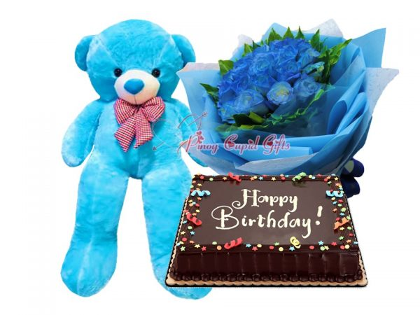 1 Dozen Blue Roses Bouquet, 4FT Blue Teddy Bear, 8x12 Chocolate Dedication Cake
