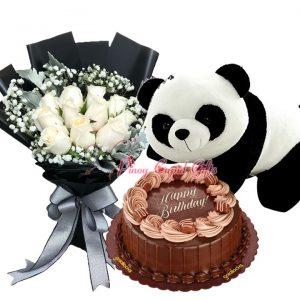 10 White Roses Bouquet, 20 Inches Crawling Panda Bear, & Chocolate Caramel Decadence by Goldilocks