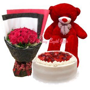 2 Dozen Red Roses Bouquet, 4 FT RedTeddy Bear & Conti's Strawberry Shortcake
