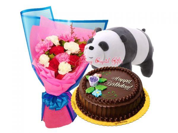 Mixed Carnations Bouquet, 14 inches Panda Bear & GD Chocolate Chiffon Round Cake