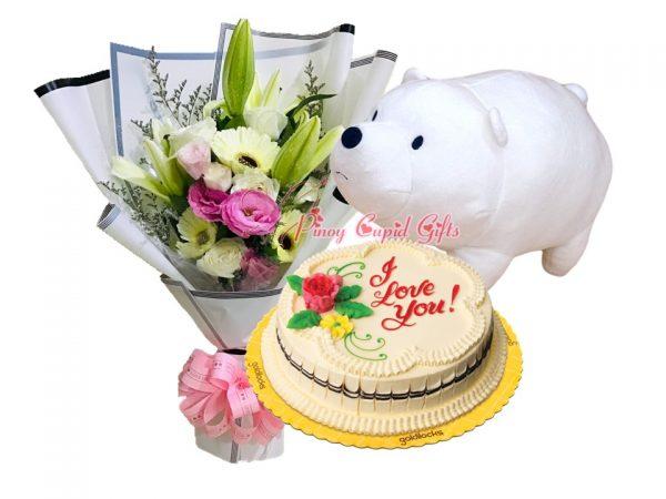 "Mixed Carnations Bouquet, 14"" White Ice Bear, & Goldilocks Chocolate Chiffon Cake"