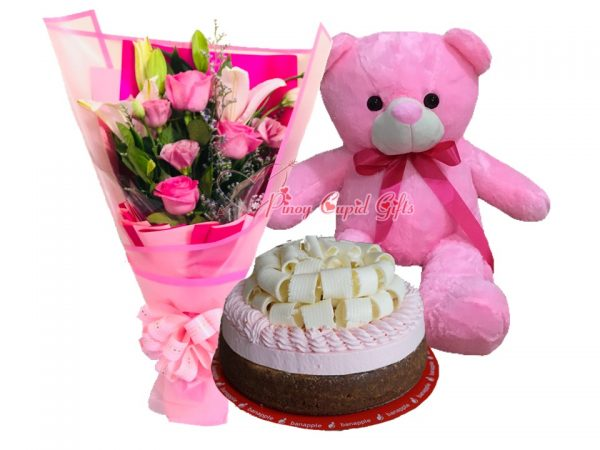 Mixed Pink Roses/Lillies Bouquet, White Chocolate Truffle Berry Cheesecake by Banapple & 22 Inches Pink Teddy Bear
