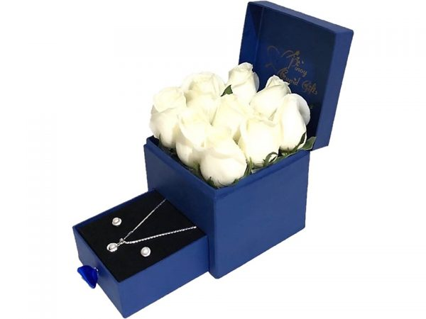 White Imported Roses with Sterling Silver Pearl Set in a gift box