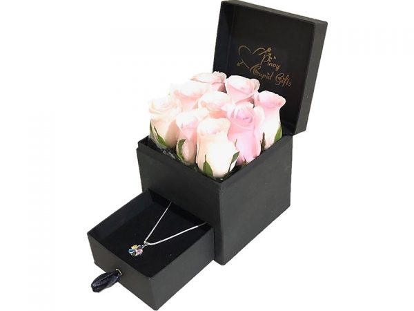 Imported Pink Roses and Sterling Silver Necklace in a special gift box