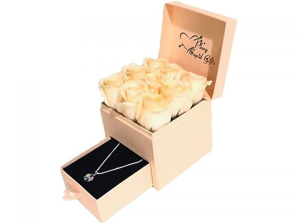 Imported Peach Roses and Sterling Silver Necklace in a gift box