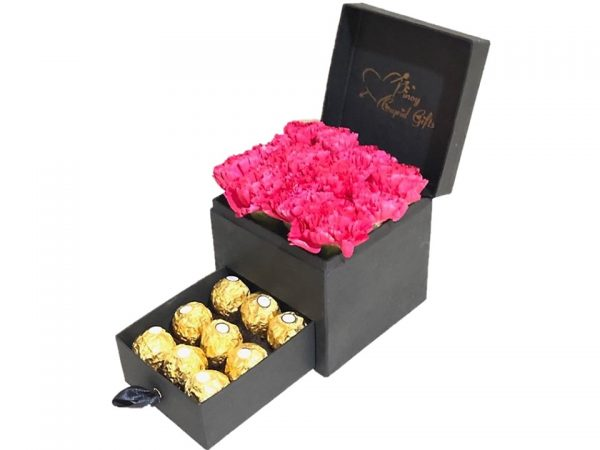 Pink Carnation Flowers with 9 pcs Ferrero Chocolates in a special gift box