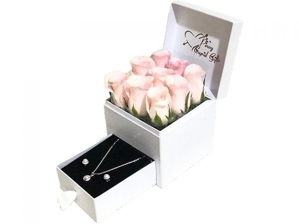 Imported Pink Roses with Sterling Silver Pearl Set in a gift box