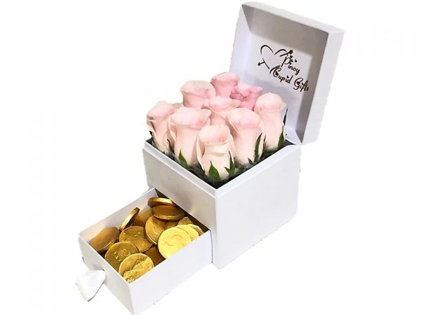 Imported Pink Roses with Gold Coins chocolate in a gift box