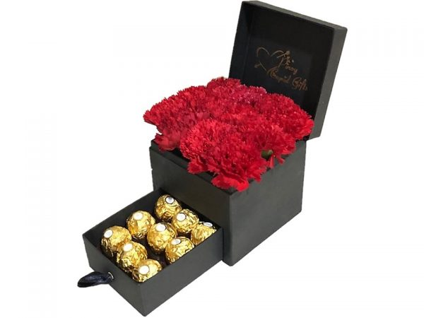 Red Carnations with 9 pcs Ferrero Chocolate in a gift box