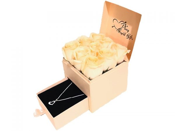 Imported Peach Roses and Open Heart Silver Necklace in a gift box