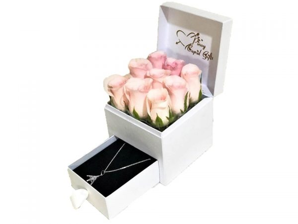 Imported Pink roses with Eiffel Tower Silver Necklace in a special gift box