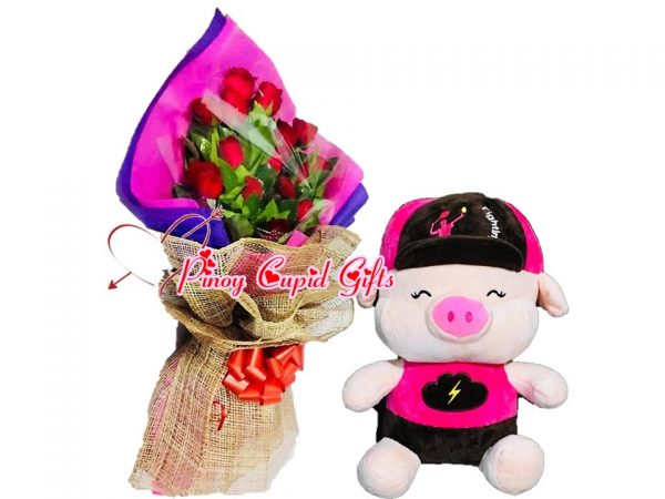 1 Dozen Red Roses Bouquet, 10 inches Fighting Pig – Pink