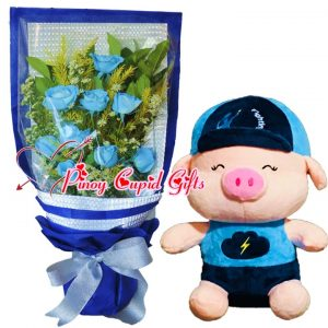 1 Dozen Blue Roses Bouquet, 10 inches Fighting Pig – Blue