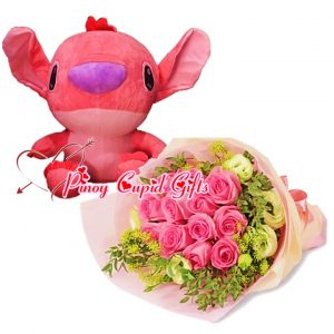 10 Imported Pink Roses Bouquet, 17 inches Stuffed Toy-Pink