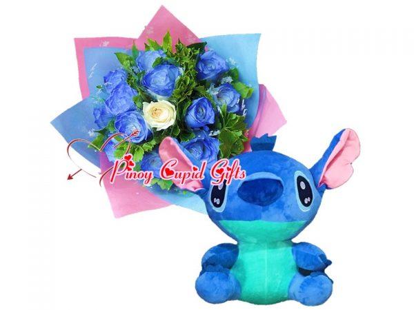 1 Dozen Blue Roses Bouquet, 17 inches Stuffed Toy – Blue