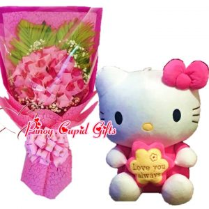 2 Dozen Pink Roses in Hand Bouquet 16 inches H-Kitty Stuffed Toy 05 – Pink