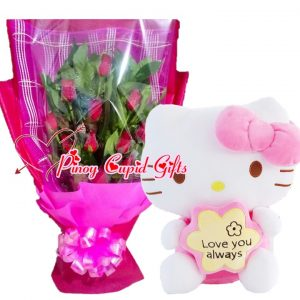 1 Dozen Red Roses Bouquet, 2FT Pink H-Kitty Stuffed Toy