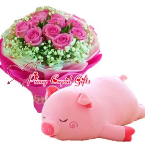 10 Imported Pink Roses Bouquet, Porky Pig Stuffed Toy - 22 inches