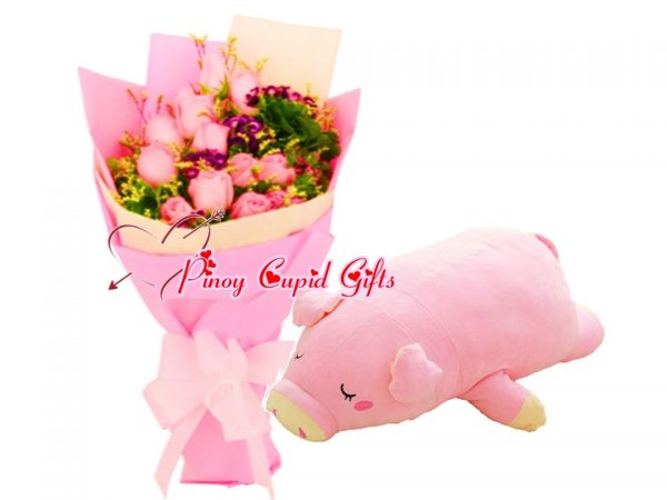 10 Imported Pink Roses Bouquet, Lazy Pig Stuffed Toy - 18 inches