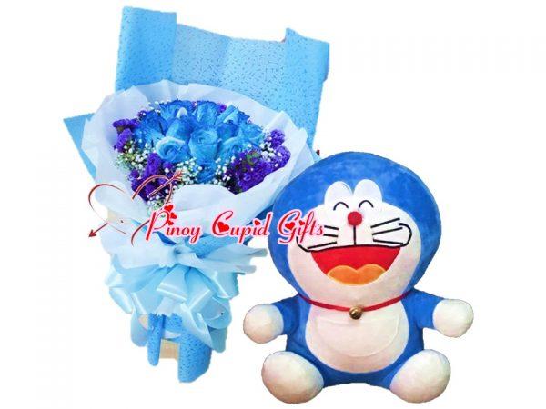 1 Dozen Blue Roses Bouquet, 13 inches Doreman Stuffed Toy 06-Blue