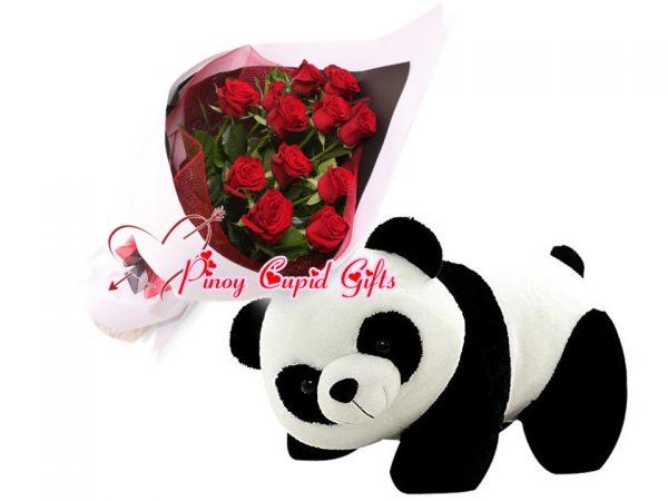 1 Dozen Red Roses Bouquet,2FT Crawling Panda Bear