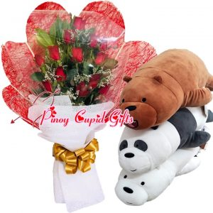 1 Dozen Red Roses Bouquet, 14 Inches We Bare Bears (Panda, Grizzly, Ice Bear)