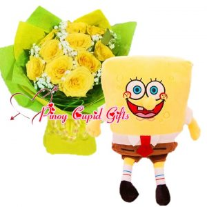 10pcs Imported Yellow Roses Bouquet, 2FT Stuffed Toy