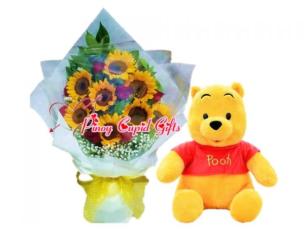 Mixed Roses & Sunflower Bouquet, Yellow Stuffed Toy (17″ inches)