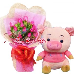 1 Dozen Pink Roses Bouquet, Happy Pig Stuffed Toy (16 inches)