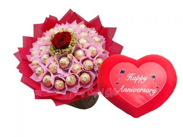 3opcs ferrero bouquet and anniversary pillow