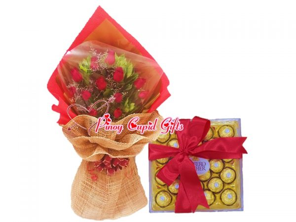 roses and 24pcs ferrero chocolate